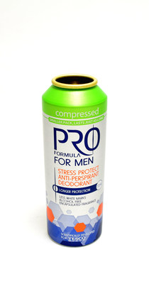"Ball's Tesco Pro Formula for Men Compressed aluminum aerosol can won a Gold ""Can of the Year"" honor for sustainability."