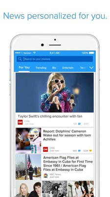 Particle News allows users to perform searches from their phone's home screen within iOS 9.