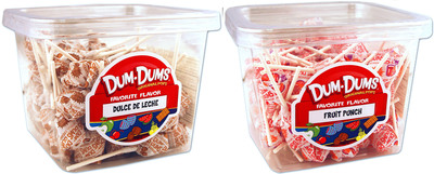Dum Dums welcomes two new flavors into its iconic flavor mix; Fruit Punch and Dulce de Leche. Look for new 1 lb single flavor tubs at dumdumpops.com and spanglercandy.com.  (PRNewsFoto/Spangler Candy Company)
