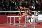 Competing as an ASICS athlete for the first time, Queen Harrison placed first in the 100-meter hurdles at the Stockholm Diamond League meet on Thursday, August 21. (PRNewsFoto/ASICS America)