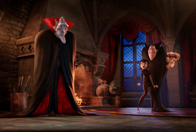 The ancient, undead and incredibly grumpy vampire Vlad (voiced by Mel Brooks) pays an impromptu visit to his son Dracula (Adam Sandler), granddaughter Mavis (Selena Gomez) and her boyfriend Johnny (Andy Samberg) in Sony Pictures Animation's HOTEL TRANSYLVANIA 2, in theaters September 2015.