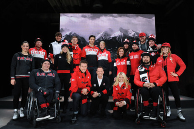 Hudson's Bay unveils its Sochi 2014 Canadian Olympic and Paralympic Collection, modeled by Canadian athletes, in Toronto. From L to R: Front row - Brad Bowden, Dylan Moscovitch, Jean-Luc Brassard, Kirsten Moore-Towers, Billy Bridges, Justine Dufour-Lapointe. Second row - Chloé Dufour-Lapointe, John Leslie, Erin Mielzynski, Cheryl Bernard, Jan Hudec, Mark Arendz. Third row - Lenny Valjas, Brad Spence, Andrew Poje, Kaitlyn Weaver, Robbi Weldon, Jesse Lumsden. (CNW Group/Hudson's Bay Company)