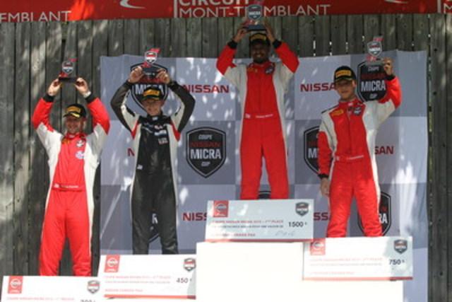 Pelletier, Rzadzinski, Bikkani et Thanasitnitikate sur le podium dimanche. (Groupe CNW/Nissan Canada Inc.)