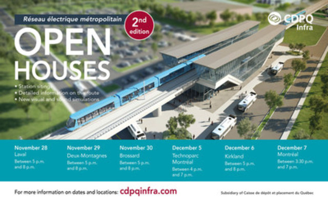 CDPQ Infra invites the public to take part in its second round of open houses that will be held by the end of November and in early December (CNW Group/CDPQ Infra Inc.)
