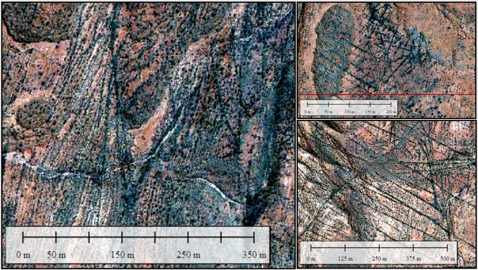Figure 5. Selected images of Impact 5 locations showing intense, fractal, low-displacement faults and fractures.