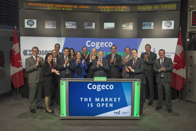 Louis Audet, President and Chief Executive Officer, Cogeco Inc. (CGO) and Cogeco Communications Inc. (CCA), joined Shaun McIver, Chief Client Officer, Equity Capital Markets, TMX Group to open the market to celebrate 30 years listed on Toronto Stock Exchange. Cogeco Inc. is a diversified holding corporation which operates in the communications and media sectors through its subsidiaries Cogeco Communications Inc. and Cogeco Media. Cogeco Communications Inc. provides residential and business customers with video, Internet and telephony services in Canada under the name Cogeco Connexion and in the United States under the name Atlantic Broadband. Through Cogeco Peer 1, it provides business customers with a suite of information technology services in North America and Europe. Cogeco Media owns and operates 13 radio stations across most of Québec. Cogeco Inc. commenced trading on Toronto Stock Exchange on December 3, 1986. (CNW Group/TMX Group Limited)