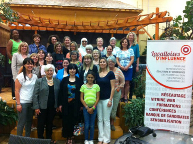 Une trentaine de lavalloises, incluant la ministre Francine Charbonneau, ont assisté à la conférence de Mme Louise Harel sur l'importance de la présence des femmes en politique, vendredi dernier. (Groupe CNW/Cabinet de la ministre de la Famille)