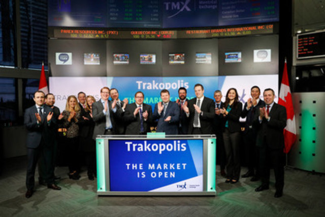 Brent Moore, President and CEO, Trakopolis IoT Corp. (TRAK), joined Shaun McIver, Chief Client Officer, Equity Capital Markets, TMX Group to open the market. Trakopolis provides business intelligence services and software to organizations requiring current information and relevant data on the location and status of corporate assets such as equipment, devices, vehicles and people. Trakopolis IoT Corp. listed on TSX Venture Exchange on October 26, 2016. For more information, please visit www.Trakopolis.com (CNW Group/TMX Group Limited)
