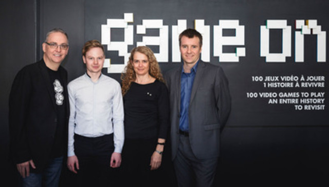Launch of the Game On exhibition at the Montréal Science Centre with Denis Talbot, Patrick Moran, Julie Payette and Yannis Mallat. (CNW Group/Centre des sciences de Montréal)