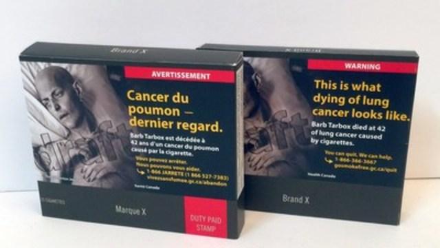 Modèle d'emballage neutre réclamé par les groupes de santé canadiens. Photo libre de tout droit d'auteur. (Groupe CNW/Coalition québécoise pour le contrôle du tabac)