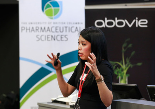 Dr. Mary De Vera, Assistant Professor and recipient of the AbbVie Professorship in Medication Adherence, speaks to a group of people during the official launch of the Initiative for Medication Adherence at UBC in Vancouver, B.C. June 20, 2013. Photo by Jeff Vinnick/CNW/AbbVie (CNW Group/The University of British Columbia Faculty of Pharmaceutical Sciences)