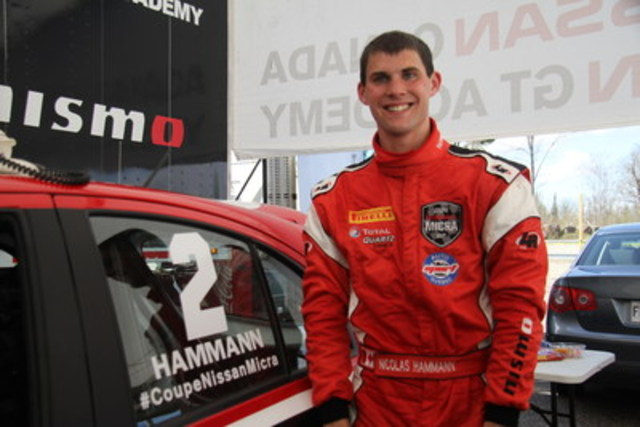 Nic Hammann, driver from the Nissan GT Academy team, saw a promising start for the 2016 season (CNW Group/Nissan Canada Inc.)