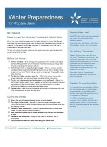 Winter Preparedness for Propane Users (CNW Group/Canadian Propane Association)
