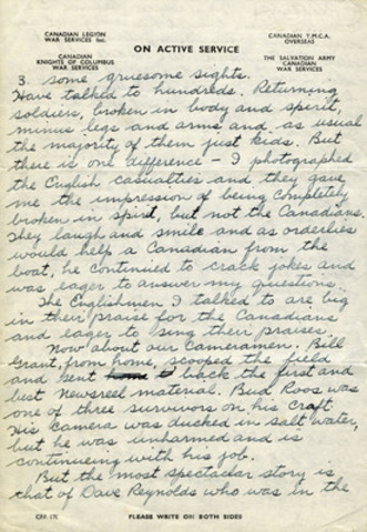 Letter from Sgt. McCaughey, CWM 20140022-002_06-09-44_p1-4, George Metcalf Archival Collection, Canadian War Museum. (CNW Group/Canadian Museum of History)