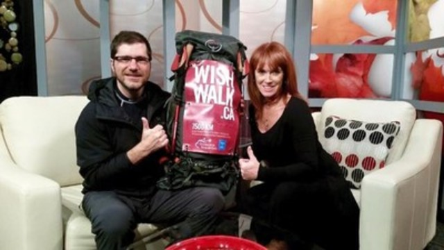 Benoit Lebel with Kathryn Tylor Musseau, host of Exploits Central & Local Matters on Rogers TV in Grand Falls-Windsor, NL (CNW Group/The Children's Wish Foundation of Canada)