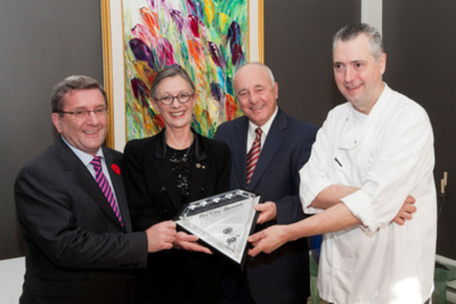 Restaurant Initiale, Relais & Châteaux earns CAA/AAA Five Diamond rating! From left to right: Régis Labeaume, Mayor of Quebec City, Rolande Leclerc, co-owner, Paul A. Pelletier, President and CEO of CAA-Quebec, and Yvan Lebrun, Chef and co-owner. (CNW Group/CAA-QUEBEC)
