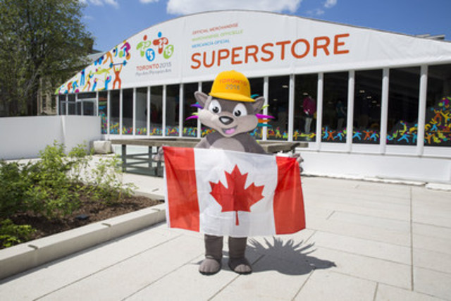 """On Canada Day, the TORONTO 2015 Pan Am/Parapan Am Games Organizing Committee (TO2015) officially opened the TORONTO 2015 Superstore at Nathan Phillips Square. This 10,000-square-foot retail space will serve as a hub for Games enthusiasts and spectators who are visiting the Square for the nightly Victory Celebrations and PANAMANIA, presented by CIBC. The TORONTO 2015 Superstore is """"the"""" place for exclusive Games time apparel, made-in-Toronto leather goods, pins, PACHI plush and more. There is something here for everyone. (CNW Group/Toronto 2015 Pan/Parapan American Games)"""