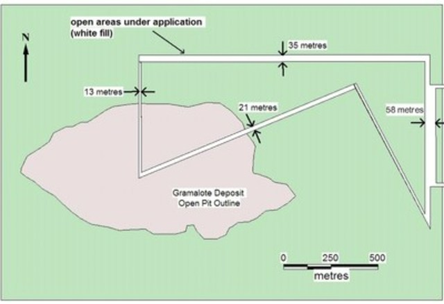 Figure 1. Map outlining the open areas under application (white fill area) over and near the Gramalote Deposit (CNW Group/Zonte Metals Inc.)