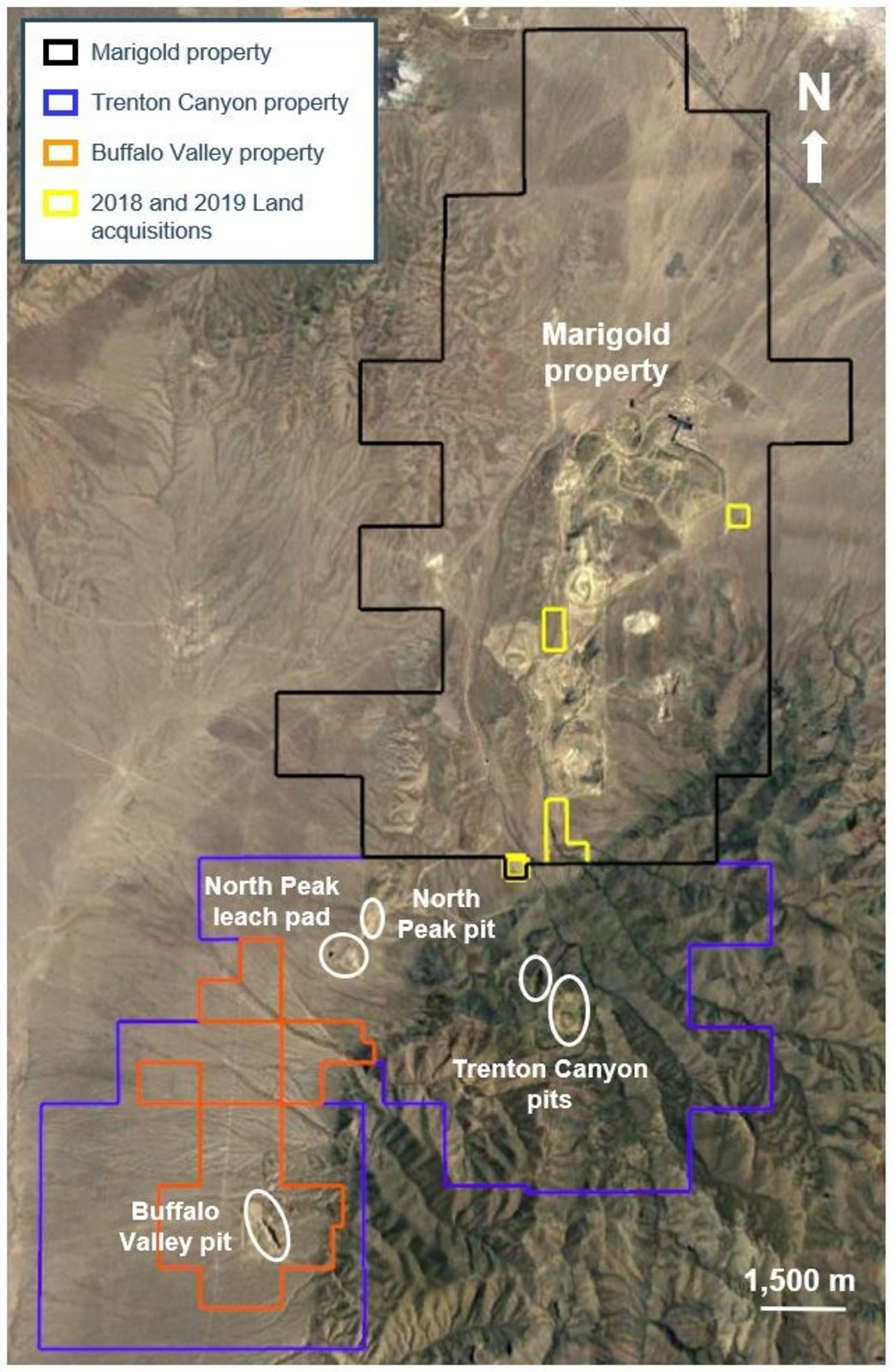 Figure 1: Location of the Trenton Canyon, Buffalo Valley and Marigold properties in Nevada, U.S.