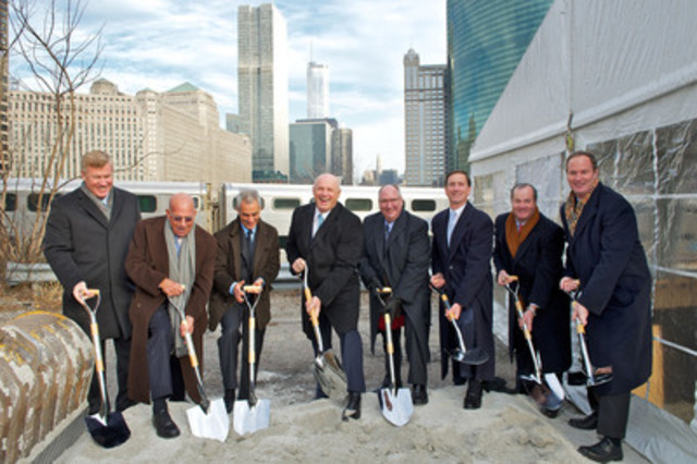 On hand for the groundbreaking ceremony for River Point tower in Chicago were (in order): Greg Van Schaack, Senior Managing Director, Hines, Larry Levy, The Levy Organization, Chicago Mayor Rahm Emanuel, Daniel Fournier, Chairman and CEO, Ivanhoé Cambridge, Arthur Lloyd, Executive Vice President, Investments, Western North America, Ivanhoé Cambridge, C. Kevin Shannahan, CEO of Hines' Midwest and Southeast regions, Jeff Hines, President and CEO of Hines and Jim Walsh, Managing Director, Hines. (CNW Group/IVANHOE CAMBRIDGE)