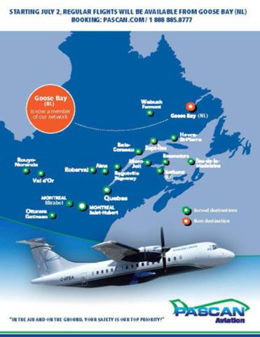 PASCAN,dès le 2 Juillet, vols réguliers vers Goose Bay (T-N-L) (Groupe CNW/Pascan Aviation inc.)