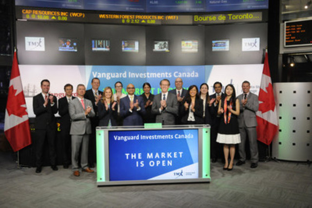 Atul Tiwari, Managing Director & Head, Vanguard Investments Canada Inc., joined Dani Lipkin, Head, Business Development, Exchange Traded Funds, Closed-End Funds, and Structured Notes, TMX Group to open the market to launch four new Exchange Traded Funds (ETFs): Vanguard Global Liquidity Factor ETF (VLQ); Vanguard Global Minimum Volatility ETF (VVO); Vanguard Global Momentum Factor ETF (VMO); and Vanguard Global Value Factor ETF (VVL). Vanguard Investments Canada Inc. is a wholly owned indirect subsidiary of The Vanguard Group, Inc. With these new ETFs, Vanguard currently has 27 ETFs listed on Toronto Stock Exchange. (CNW Group/TMX Group Limited)