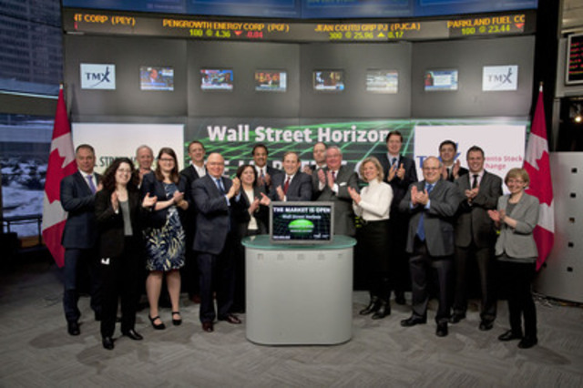 Bruce R. Fador, President & CCO, Wall Street Horizon Inc. joined Lou Eccleston, CEO, TMX Group to open the market. Wall Street Horizon Inc. is a Boston based company that specializes in providing forecasted earnings dates and other forward looking corporate events data on approximately 5,000 companies that trade on North American exchanges, including Toronto Stock Exchange and TSX Venture Exchange. TMX Datalinx and Wall Street Horizon Inc., announced an agreement today under which TMX Datalinx will become a global distributor of Wall Street Horizon's data products. (CNW Group/TMX Group Limited)