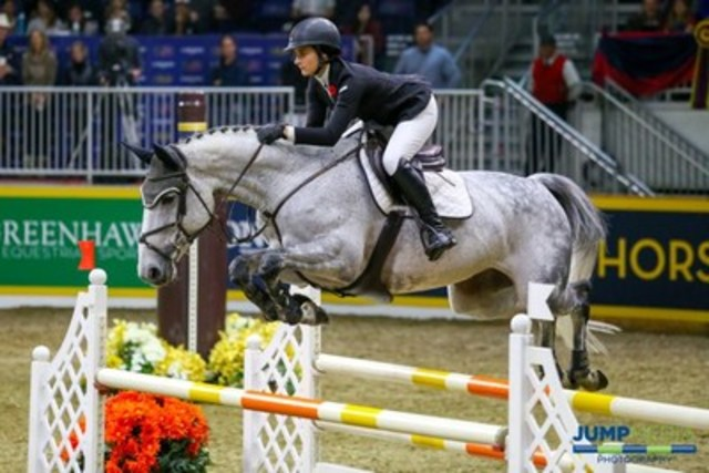 Veronica Bot of Burlington, ON, won the $10,000 McKee-Powell Equine Services Junior/Amateur Jumper Royal Stake on Sunday, November 6 at the Royal Horse Show in Toronto, ON. Photo by Jump Media (CNW Group/Royal Agricultural Winter Fair)