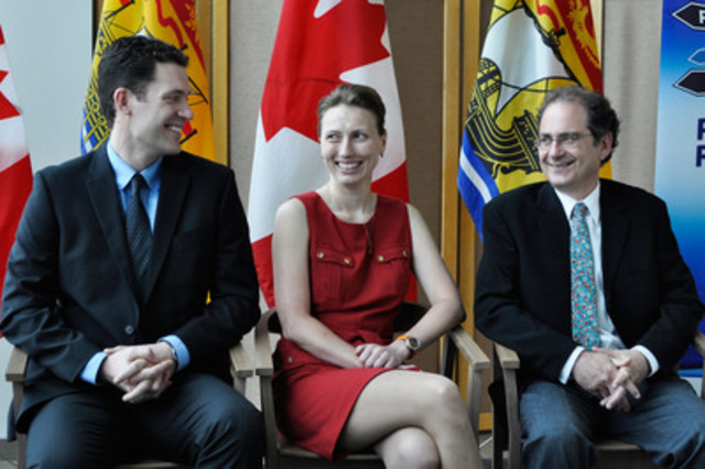 Drs. Erik Scheme, Natalia Stakhanova and Marc Surette receive the first New Brunswick Innovation Research Chairs at a ceremony in Fredericton, New Brunswick, Canada (CNW Group/New Brunswick Innovation Foundation)