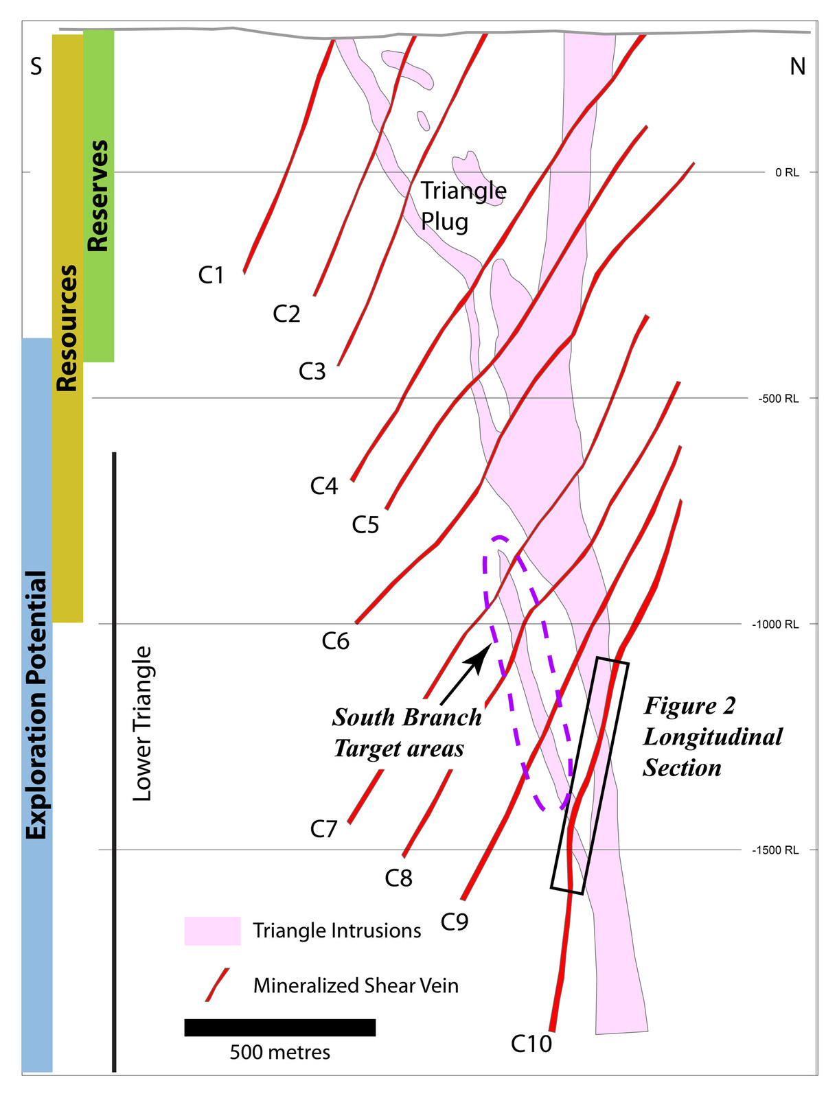Figure 2: Schematic north-south cross section through the Triangle deposit, showing the positions of the newly-defined lower zones and locations of longitudinal section through the C10 zone.  Many of the highest grade times thickness values from recent drilling occur in the south branch target area.