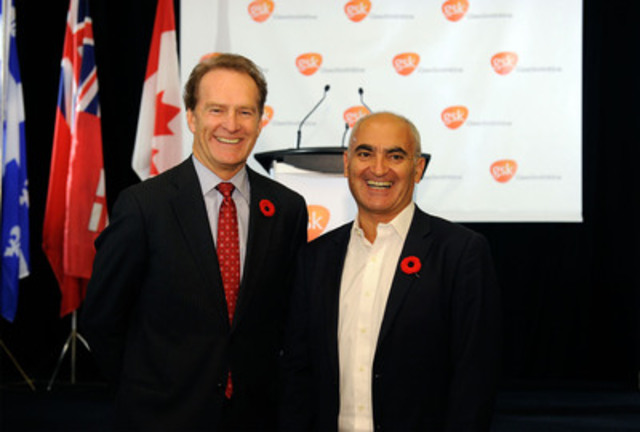 GlaxoSmithKline Inc. President & CEO, Paul Lucas and Dr. Moncef Slaoui, Global Chairman of Research & Development, GlaxoSmithKline plc., launch the GSK Canada Life Sciences Innovation Fund, a $50 million initiative to advance the commercialization of scientific innovation in Canada. (CNW Group/GlaxoSmithKline)