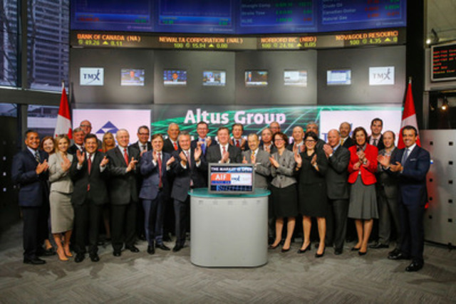 Robert Courteau, CEO, Altus Group Limited (AIF) joined Richard Rohan, VP Corporate Sales, TMX Equity Transfer Services to open the market to celebrate 10 years as a Toronto Stock Exchange listed company. Altus Group Limited is a provider of independent advisory services, software, and data solutions to the global commercial real estate industry. Headquartered in Canada, Altus Group has approximately 2,300 employees worldwide, with operations in North America, Europe and Asia Pacific. Altus Group Limited (AIF) commenced trading on Toronto Stock Exchange on May 19, 2005. (CNW Group/TMX Group Limited)