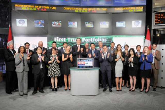 Karl Cheong, Head of ETFs Canada, First Trust Portfolios joined Amelia Nedovich, Head, Business Development, Exchange Traded Funds and Structured Products, TMX Group to open the market to launch First Trust Tactical Bond Index ETF (FTB). First Trust Portfolios Canada Co. is a privately owned company and an affiliate of Chicago based First Trust Portfolios L.P. As of May 31, 2015, First Trust had 16 Exchange Traded Funds listed on Toronto Stock Exchange with a market capitalization of almost $273 Million. For more information please visit www.firsttrust.ca. (CNW Group/Toronto Stock Exchange)