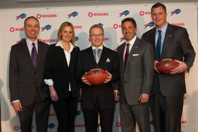 Rogers Media and Buffalo Bills announce details of new five-year deal extension. Pictured above (L-R) Rogers Media's Greg Albrecht, Buffalo Bills's Mary Owen, Rogers Media's Keith Pelley, Buffalo Bills's Russ Brandon, and Doug Marrone (CNW Group/Rogers Media)
