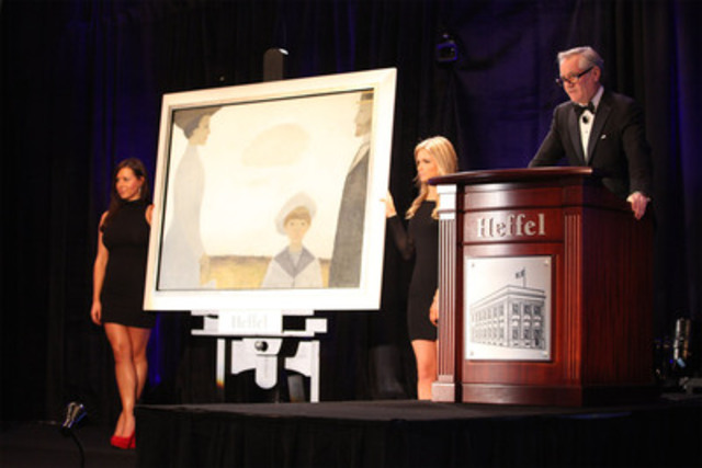 David K.J. Heffel, president of Heffel Fine Art Auction House, auctions off Jean Paul Lemieux's 'Nineteen Ten Remembered.' The masterpiece broke the global record for post-war and contemporary Canadian art sold at auction, selling for $2.34 million. (CNW Group/Heffel Fine Art Auction House)