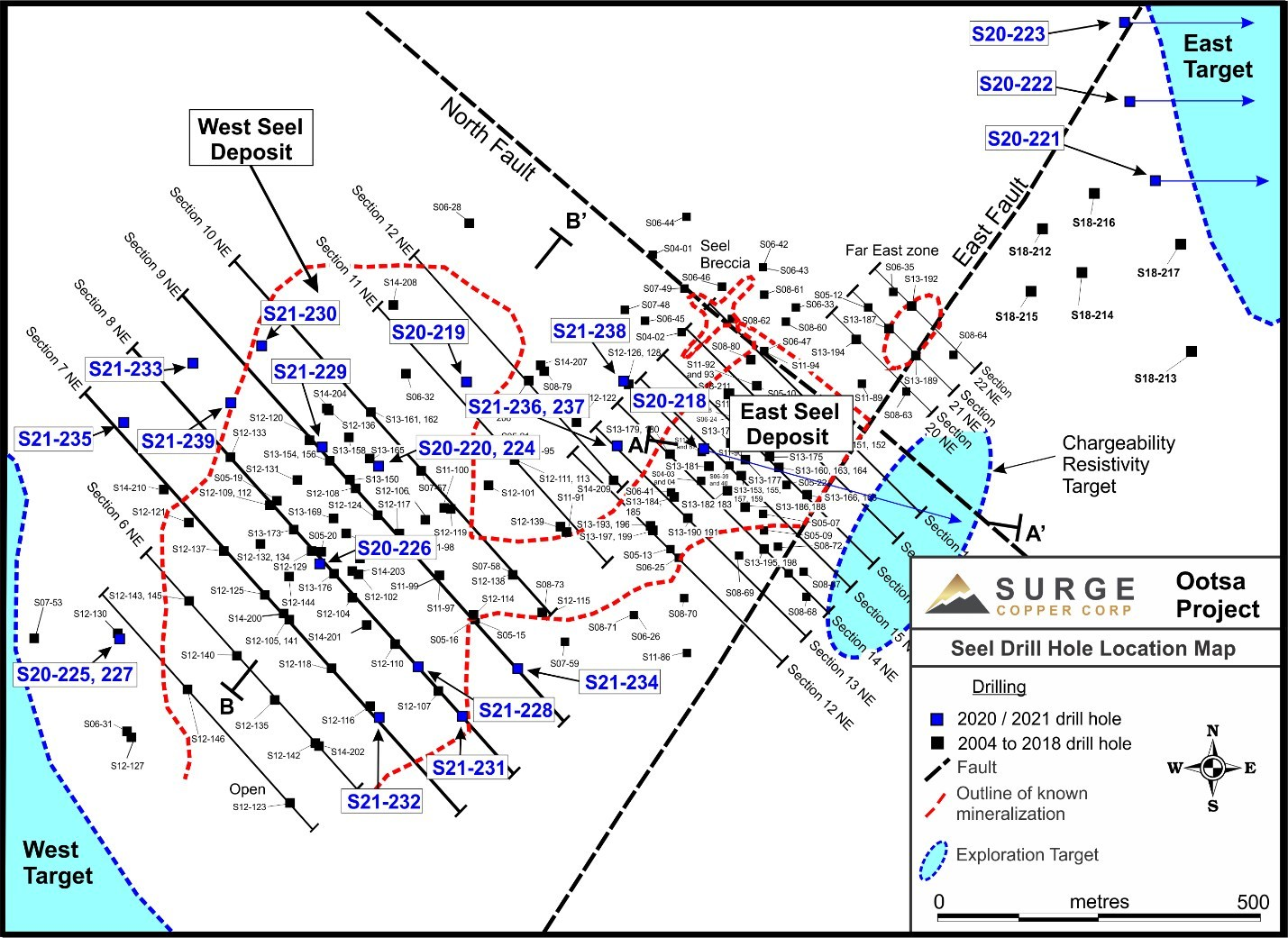 Figure 4. Plan map of drill hole locations for ongoing drill program at Ootsa. (CNW Group/Surge Copper Corp.)