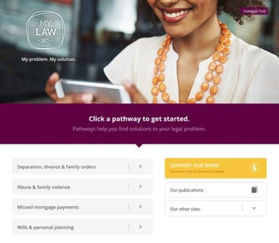 New MyLawBC website contains interactive tools to help people with their everyday legal problems. (CNW Group/Legal Services Society)