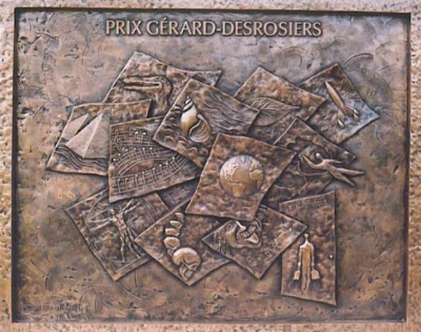 Sculpture bas-relief en bronze créée par l'artiste Danielle Thibeault (Groupe CNW/RESEAU BIBLIO DU QUEBEC)