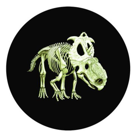 La pièce de collection de 25 cents photoluminescente Créatures préhistoriques 2012 - Pachyrhinosaurus Lakustai de la Monnaie royal canadienne, nommée la pièce la plus innovatrice dans le cadre des prix Coin of the Year 2014 de Krause Publications (en noirceur) (Groupe CNW/Monnaie royale canadienne)