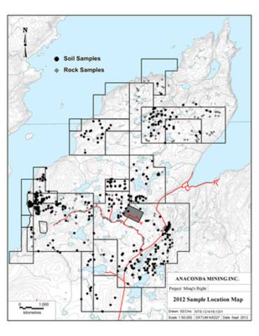 Figure 2 - 2012 Sample Location Map (CNW Group/Anaconda Mining Inc.)