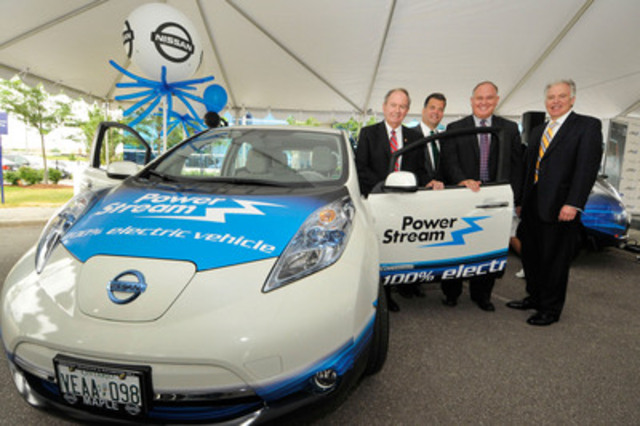 Today, Monte Kwinter, Parliamentary Assistant to the Ontario Minister of Economic Development & Trade, Brian Bentz, President & CEO, PowerStream, Frank Scarpitti, Board Chair, PowerStream and Mayor, Town of Markham and Allen Childs, President, Nissan Canada were on hand to witness Nissan Canada make its first Canadian delivery of the all-electric Nissan LEAF at PowerStream in Vaughan, ON. (CNW Group/Nissan Canada Inc.)