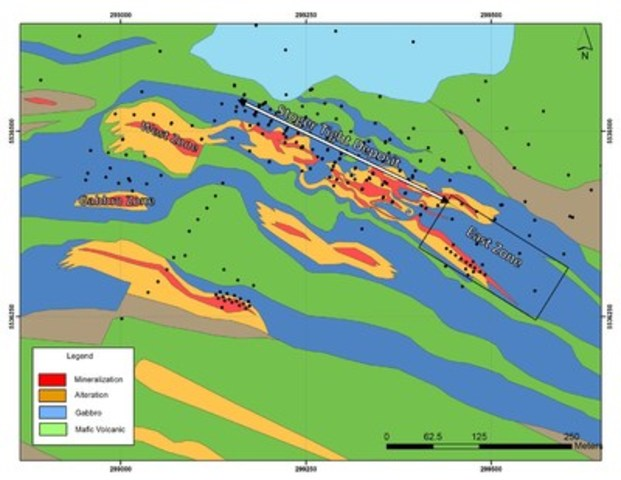 Exhibit A: A geological map of the Stog'er Tight area showing the location of surface mineralization (red) and the East zone of the Stog'er Tight area as reported in this press release. (CNW Group/Anaconda Mining Inc.)