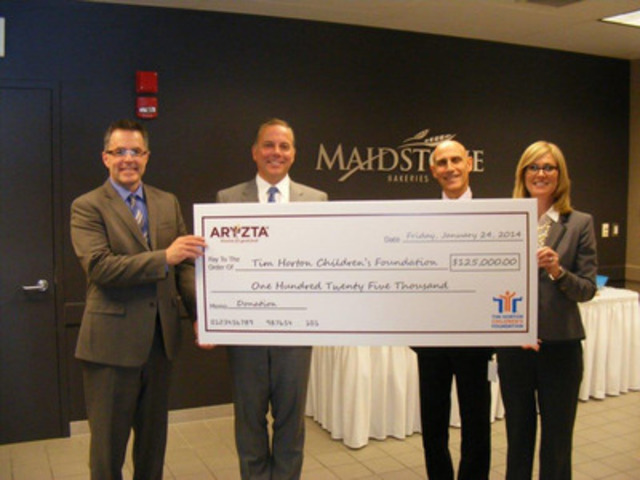 ARYZTA executives present a cheque to the Tim Horton Children's Foundation for their five-year pledge towards new camp development. From left to right: Dave Newnham, THCF Vice President & Executive Director, Peter Tremblay, Vice President Customer Marketing ARYZTA, John Yamin, CEO of the Americas and Chief Marketing Officer ARYZTA, and Deb Cochrane, Vice President Strategic Partnership Development ARYZTA. (CNW Group/Tim Horton Children's Foundation)