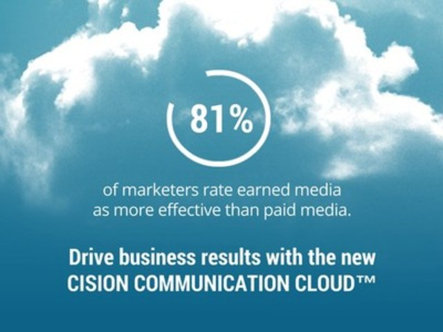 81% of marketers rate earned media as more effective than paid media. Drive business results with the new Cision Communication Cloud™ (CNW Group/CNW Group Ltd.)