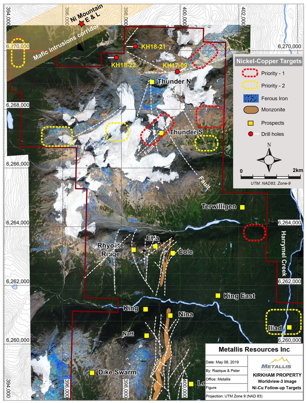 Metallis Resources Inc - Kirkham Property - Worldview-3 Image - Ni-Cu Followup Target Map