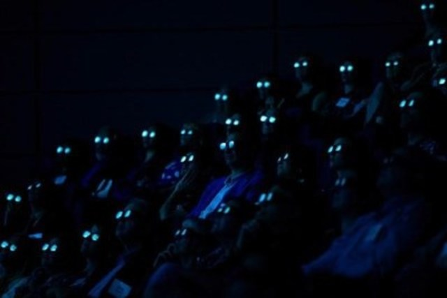 DAVID BLOOM / POSTMEDIA - PICTORIAL CATEGORY: Visitors to the Telus World of Science wear 3D glasses during the unveiling of the facility's new IMAX Laser 4K Projector in Edmonton, Alberta on Wednesday Oct. 14, 2015. (CNW Group/News Photographers Association of Canada (NPAC))