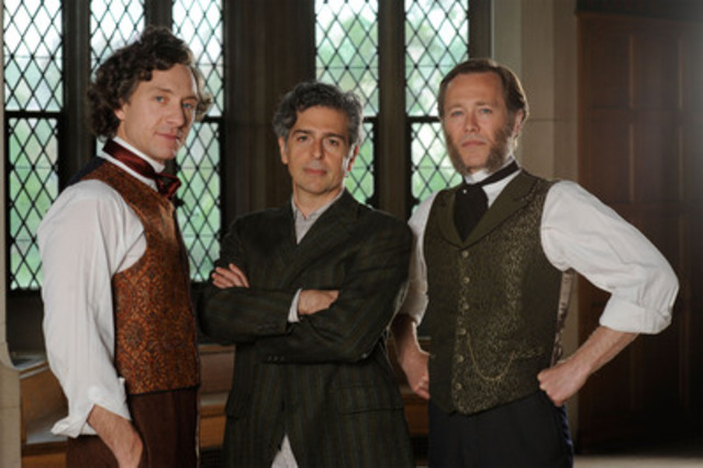 L to R Shawn Doyle as John A. producer Bernie Zukerman Peter Outerbridge as George Brown (CNW Group/Canadian Broadcasting Corporation)