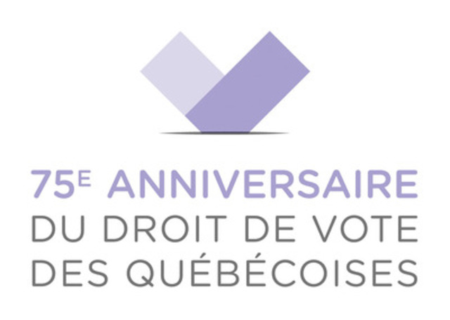 75th Anniversary of Women's Right to Vote in Québec - The Chief Electoral Officer Launches a Website and Commemorative Logo. (CNW Group/Directeur général des élections)