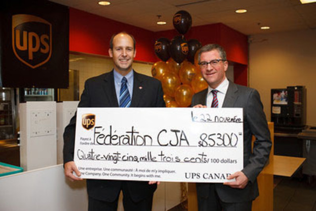 Nicolas Dorget, Vice President of Communications for UPS Canada presents David Cape, President of Federation CJA with a cheque in the amount of $85,300 USD for Le Café. The grant will provide much needed sustainable upgrades to the facility urgently needed to meet the growing demand. (CNW Group/UPS Canada Ltd.)