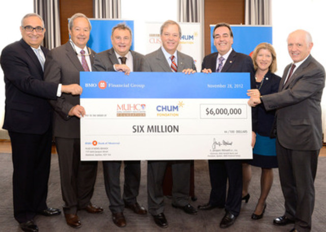 From left: Ékram Antoine Rabbat, Guy Savard, Christian Paire (CHUM), L. Jacques Ménard (BMO Financial Group), Normand Rinfret, Marie-Josée Gariépy, John Rae (MUHC) (CNW Group/McGill University Health Centre Foundation (MUHC))